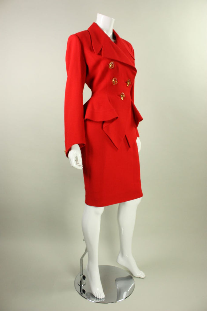 Gres Skirt Suit Red with Dramatic Detailing Vintage - regenerationvintageclothing