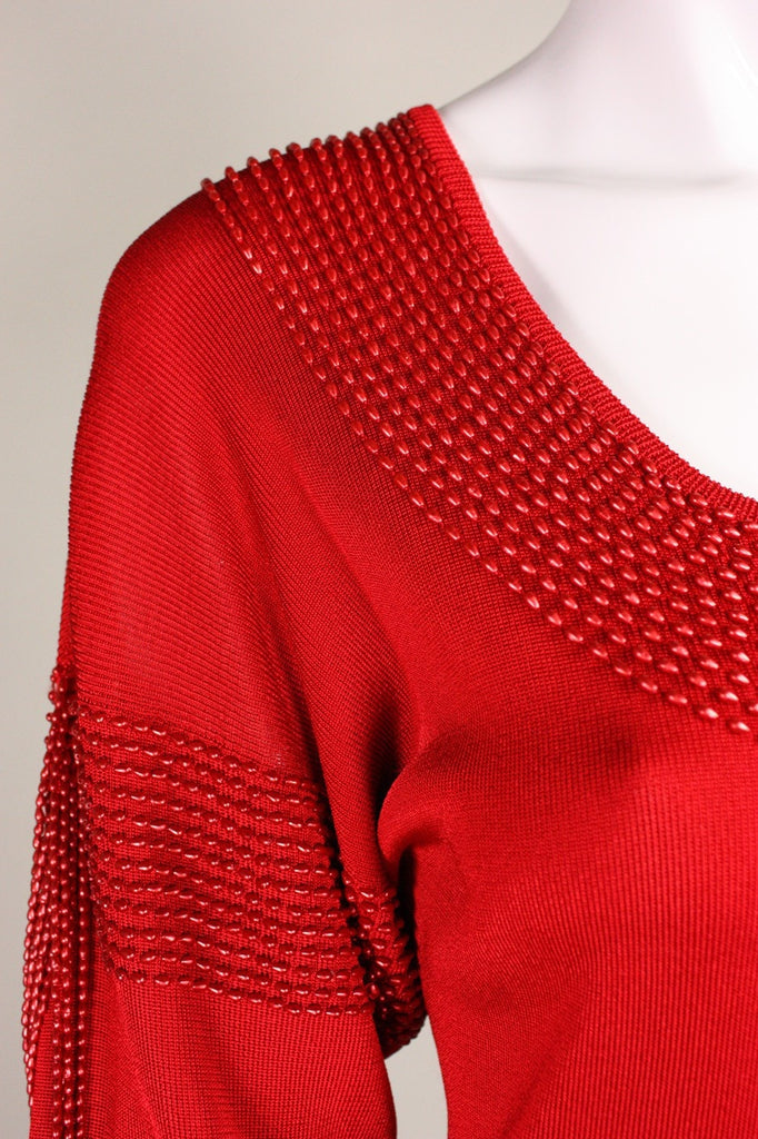 Krizia Dress 1980's Red Knit with Beading Vintage - regenerationvintageclothing