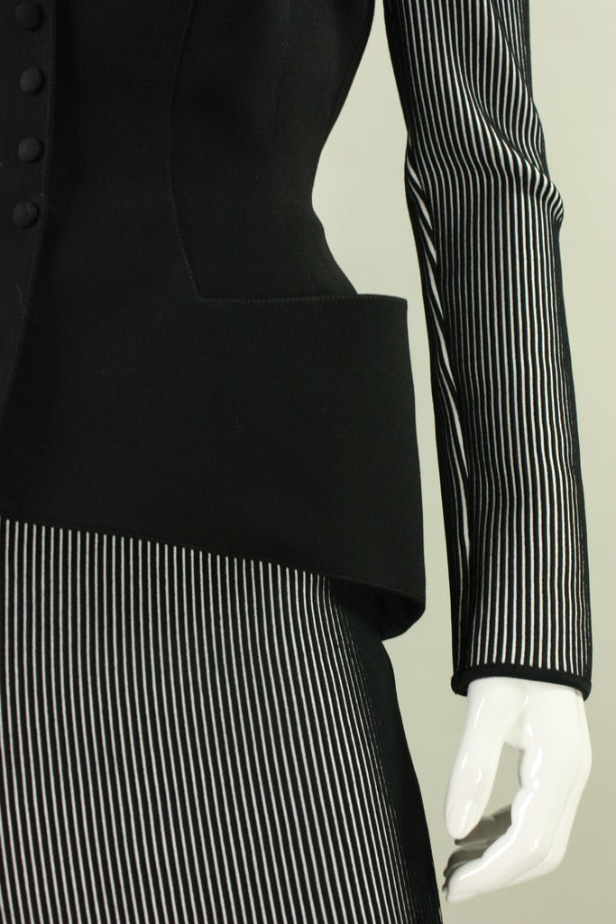 Thierry Mugler Ensemble 1980's Black and White Vintage - regenerationvintageclothing