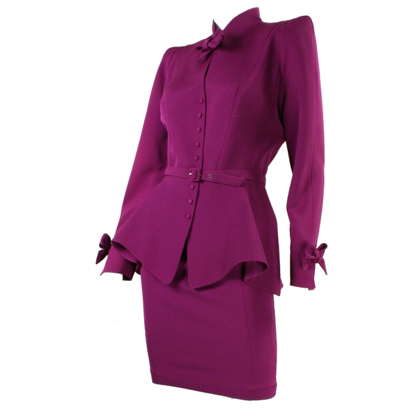Thierry Mugler Skirt Suit 1990's Plum with Bows Vintage - regenerationvintageclothing