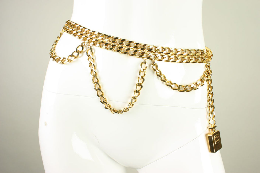 Chanel Belt 1990's Chain Link with Perfume Bottle Dangle Vintage - regenerationvintageclothing