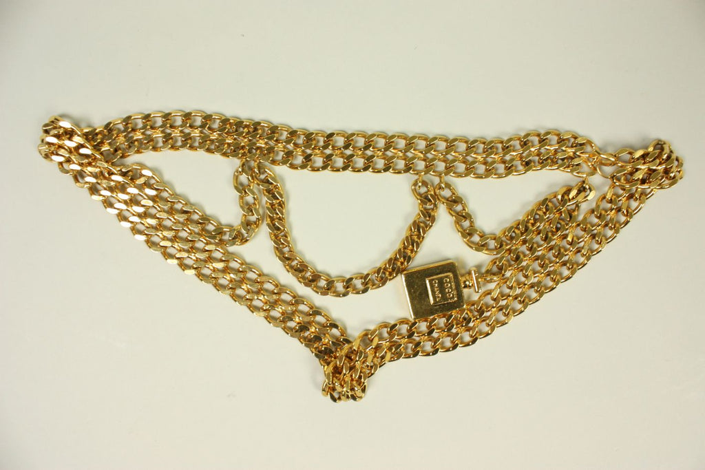 1990's Chanel Chain Link Belt with Perfume Bottle Dangle