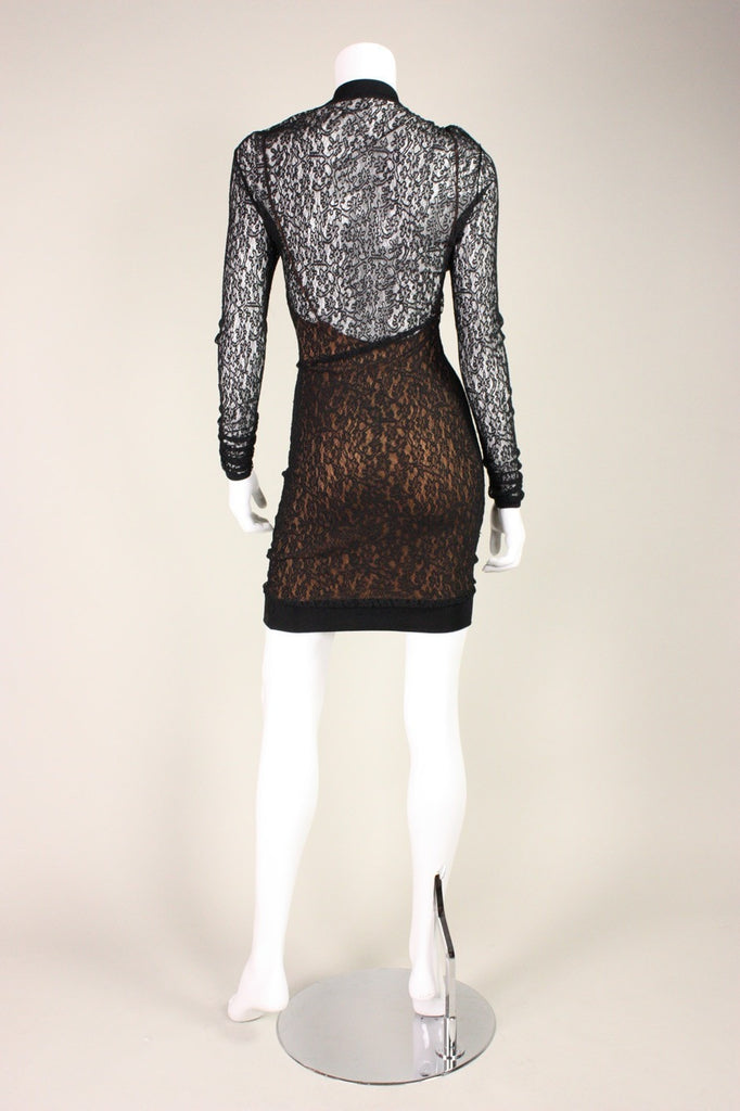 Alaïa Cocktail Dress 1990's Fitted Black Lace Vintage - regenerationvintageclothing