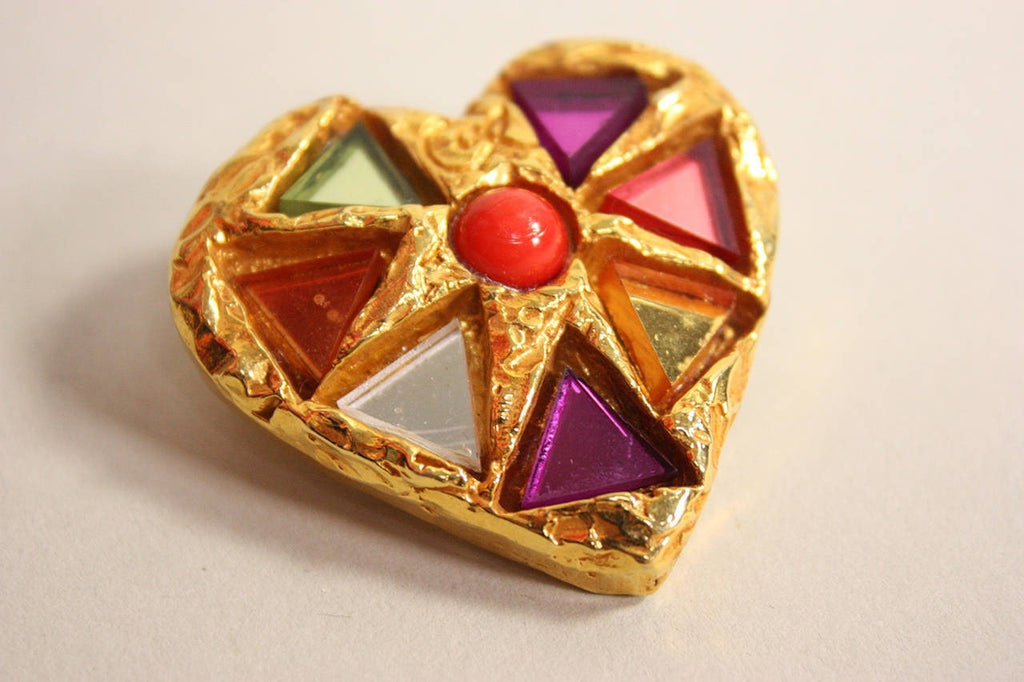 Christian Lacroix Brooch 1990's Heart with Glass Inlay Vintage - regenerationvintageclothing
