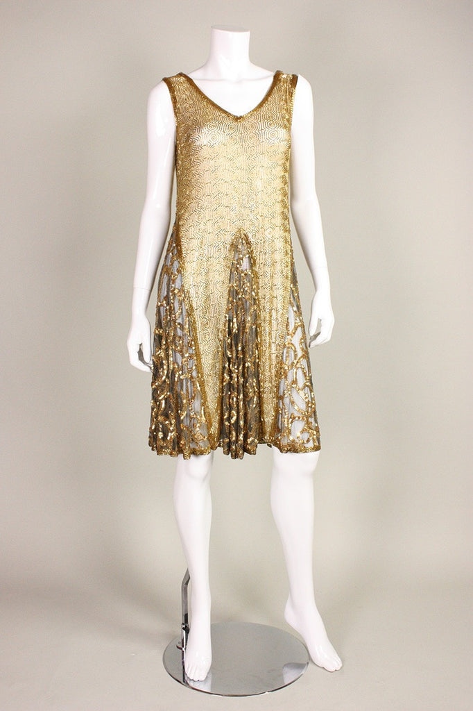 1920's Dress Gold Beaded & Sequined Vintage - regenerationvintageclothing