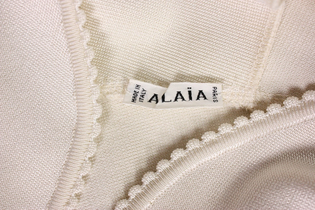 Alaia Dress 1990's White Body-Con Vintage - regenerationvintageclothing