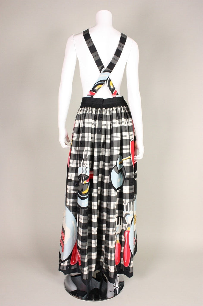 Michaele Vollbracht Gown 1980's Plaid Apron with Breakfast Print Vintage - regenerationvintageclothing