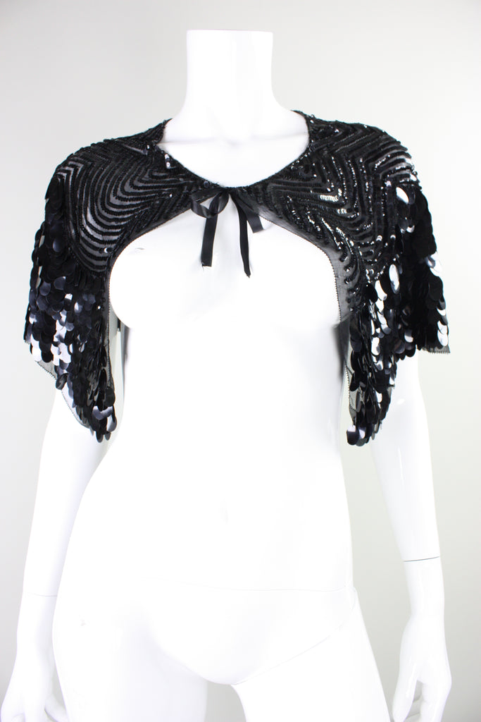 1930's Capelet with Paillettes and Sequins Vintage - regenerationvintageclothing