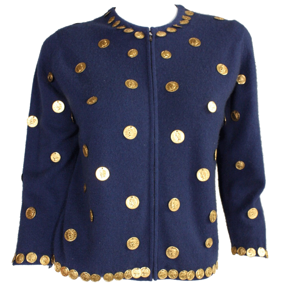Vintage Vintage 1950's Cardigan Navy Wool with Coin Medallions