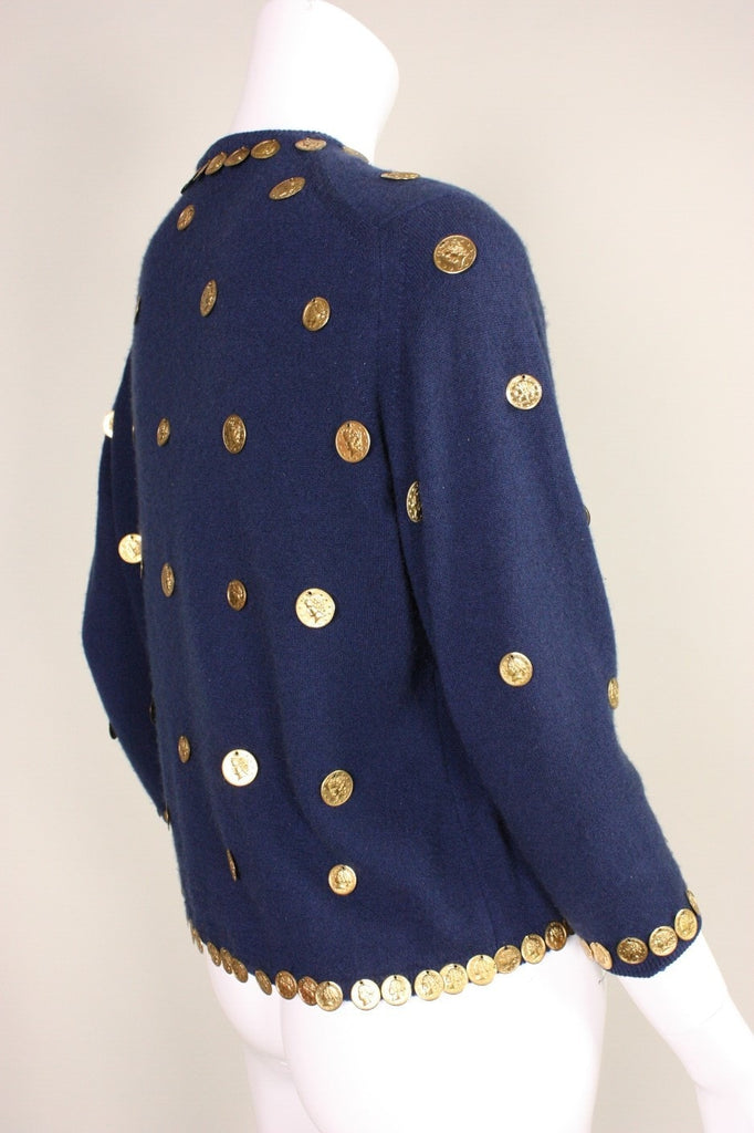 1950's Cardigan Navy Wool with Coin Medallions Vintage - regenerationvintageclothing