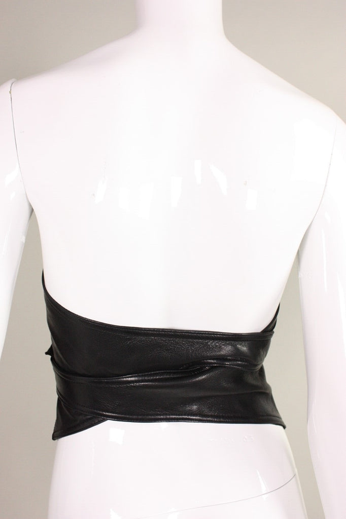 Isaac Mizrahi Bustier 1990's Black Leather Vintage - regenerationvintageclothing