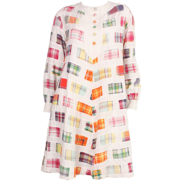 1960's Dress Madras Cotton Vintage - regenerationvintageclothing