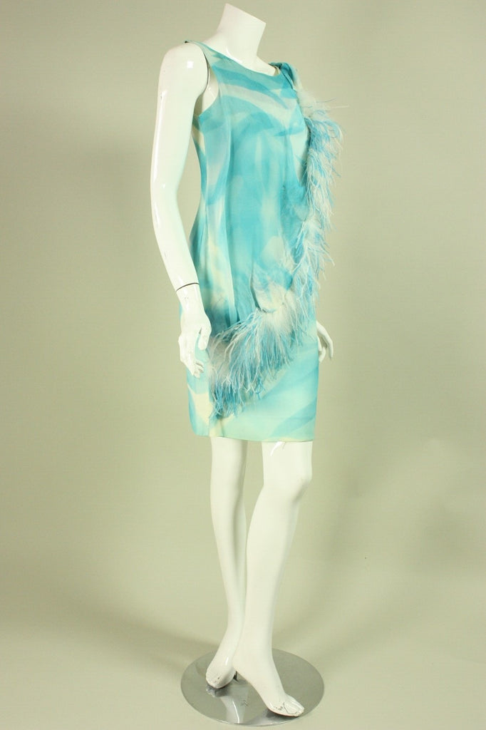 Vintage Dresses - Vintage 1960's Light Blue Feathered Cocktail Dress