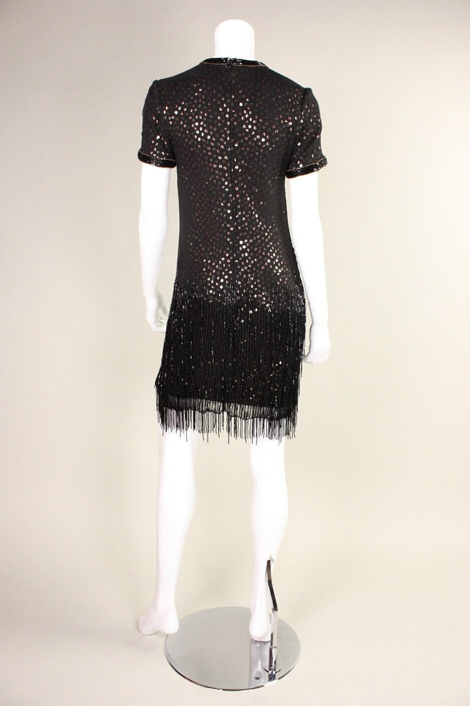 Bob Mackie Dress 1980's Sequined with Beaded Fringe Vintage - regenerationvintageclothing