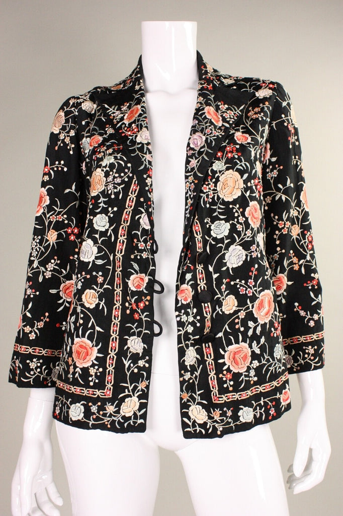 Vintage 1920's Silk Jacket with Floral Embroidery