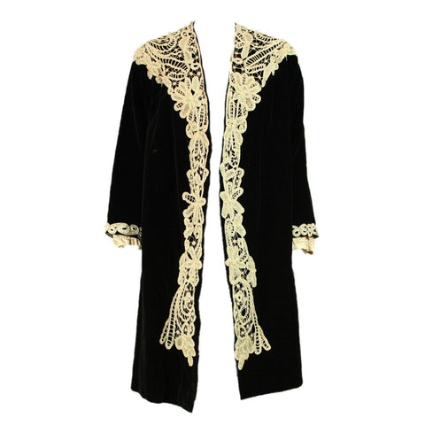 1920's Coat Black Velvet with Lace Trim Vintage - regenerationvintageclothing