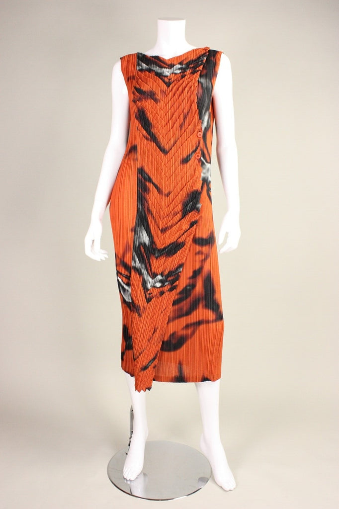 Issey Miyake Dress Pleated with Abstract Print Vintage - regenerationvintageclothing