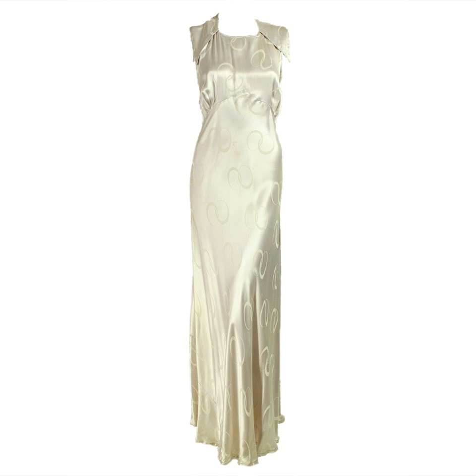 25ec39cd4c26 1930 s Gown Silk Bias Cut Charmeuse Evening Vintage