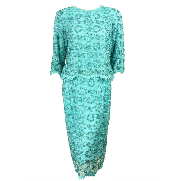 Vintage 1960's Turquoise Lace Beaded Ensemble
