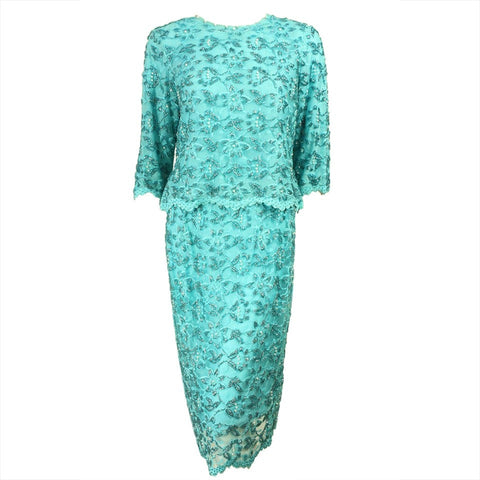 Vintage Clothing: 1960's Turquoise Lace Beaded Ensemble