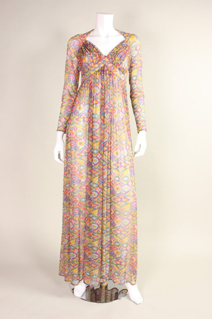 Robert David-Morton Maxi Dress 1970's with Geometric Print Vintage - regenerationvintageclothing
