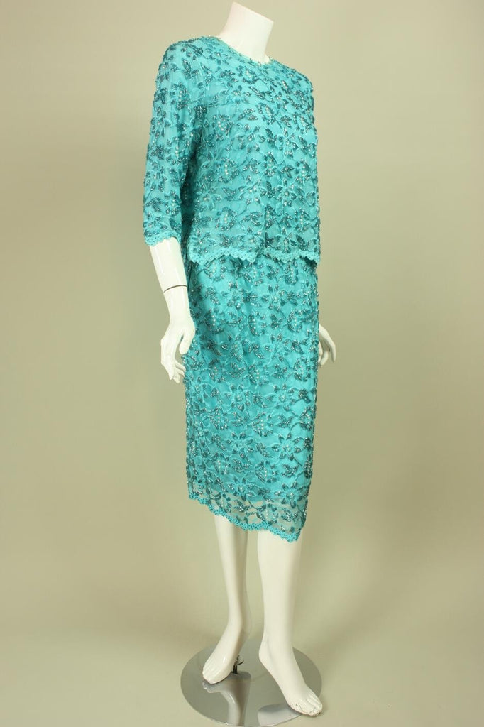 1960's Ensemble Turquoise Lace Beaded Vintage - regenerationvintageclothing