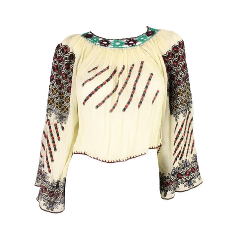 Vintage Clothing: 1930's Eastern European Embroidered Blouse with Geometric Motif