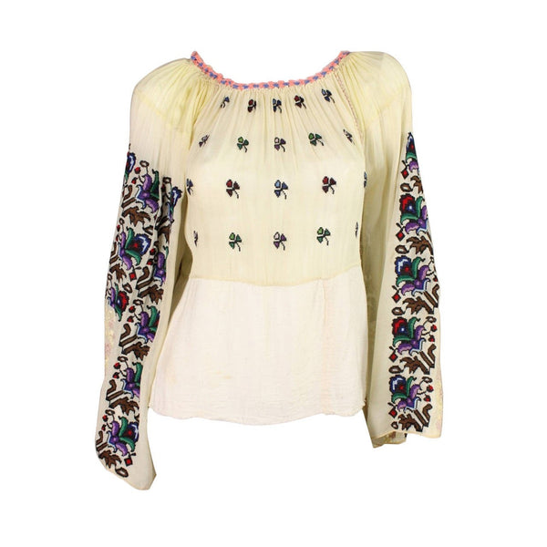 Vintage Clothing: 1930's Eastern European Embroidered Bohemian Blouse
