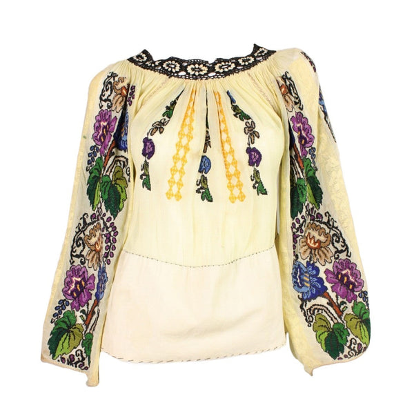 Vintage 1930's Eastern European Embroidered Blouse with Grapevine Motif