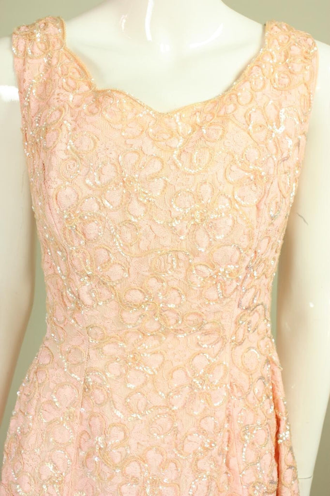Vintage 1960's Pink Lace Sequined Gown