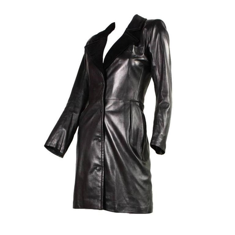 Vintage 1980's Yves Saint-Laurent Sleek Leather Dress