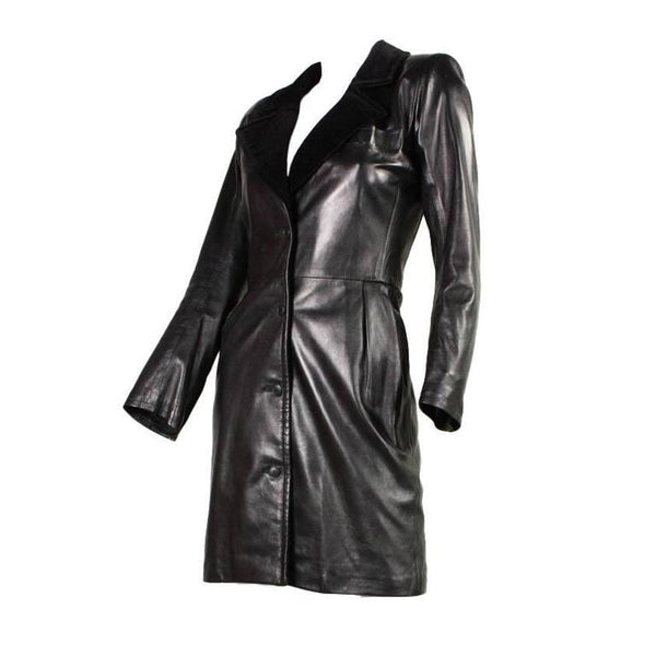 Yves Saint-Laurent Dress 1980's leek Leather Vintage - regenerationvintageclothing