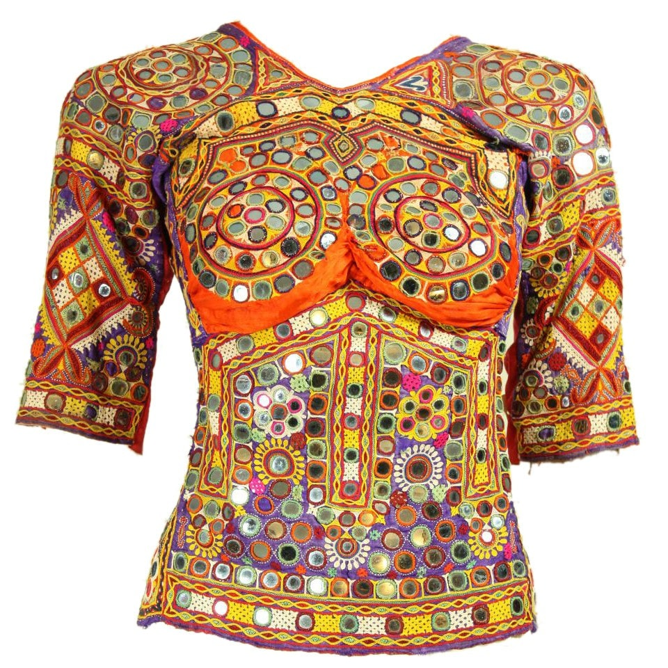 Vintage 1970's Mirrored Ethnic Top