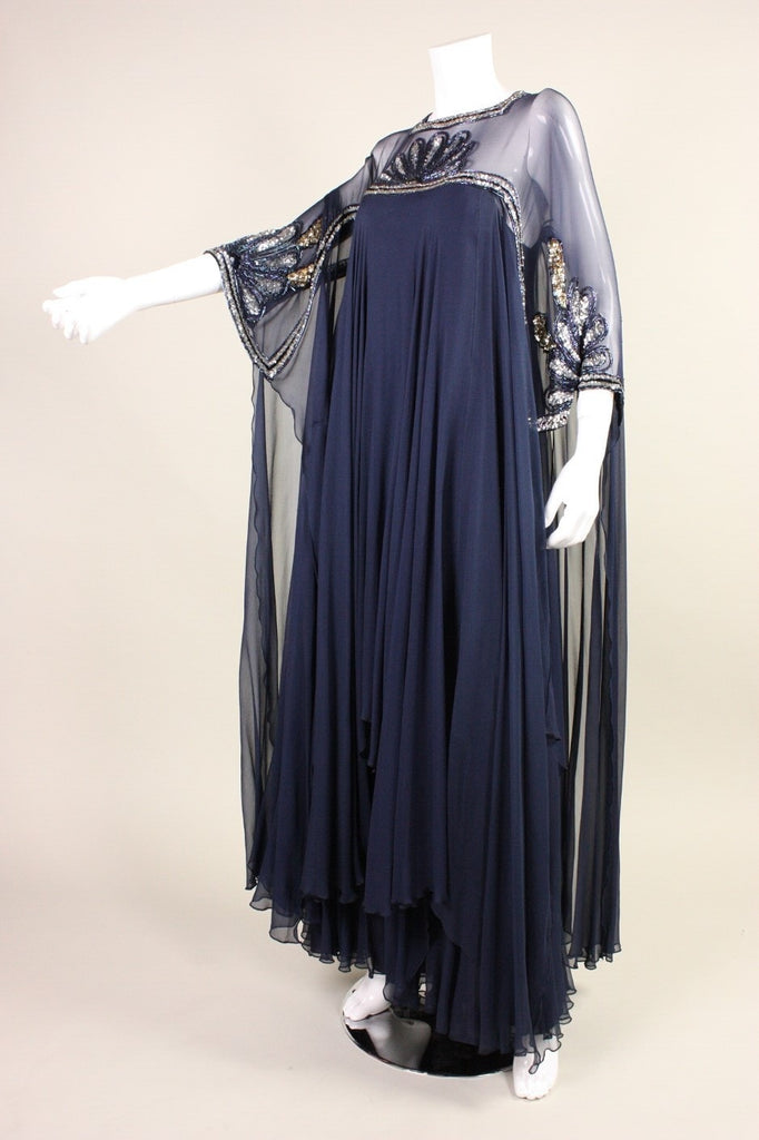 Vintage 1970's Lesley Sandra Sequined Silk Chiffon Gown