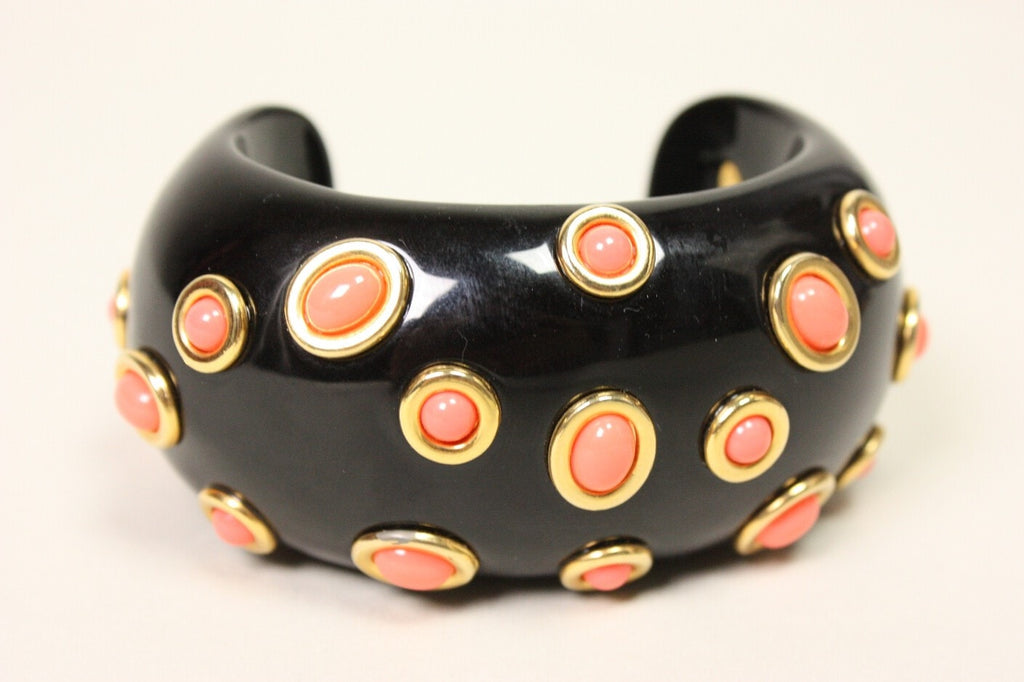 Kenneth Jay Lane Cuff with Coral Cabochons Vintage - regenerationvintageclothing