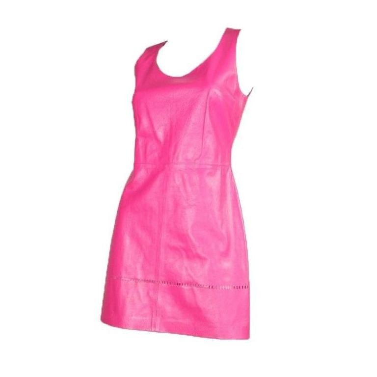 Versus Dress 1990's Pink Leather Vintage - regenerationvintageclothing