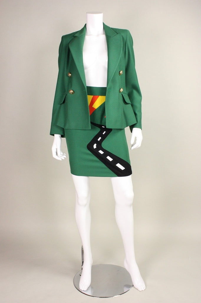 Moschino Suit 1990's with Humorous Applique Vintage - regenerationvintageclothing