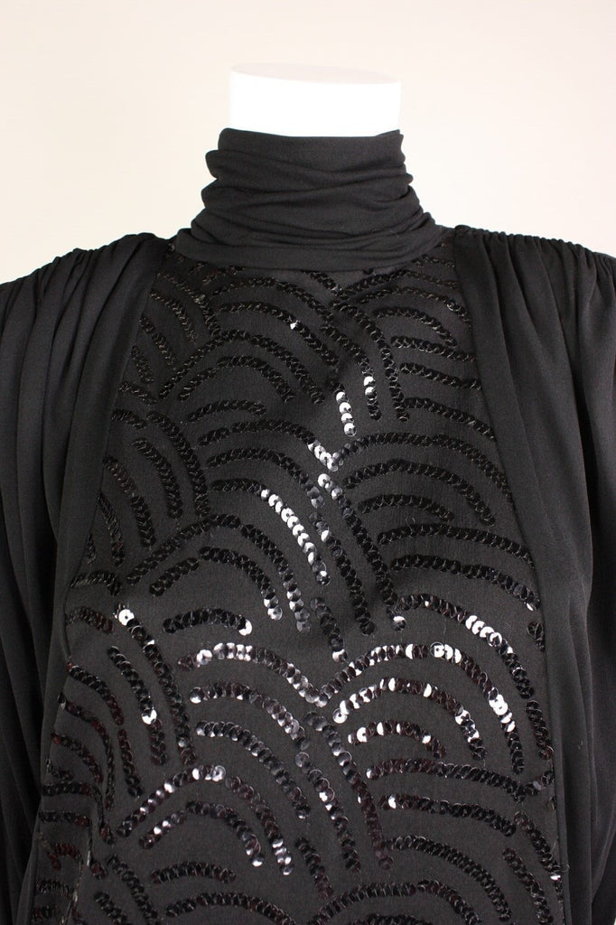Vintage Dresses - Vintage 1980's Black Sequined Jersey Dress