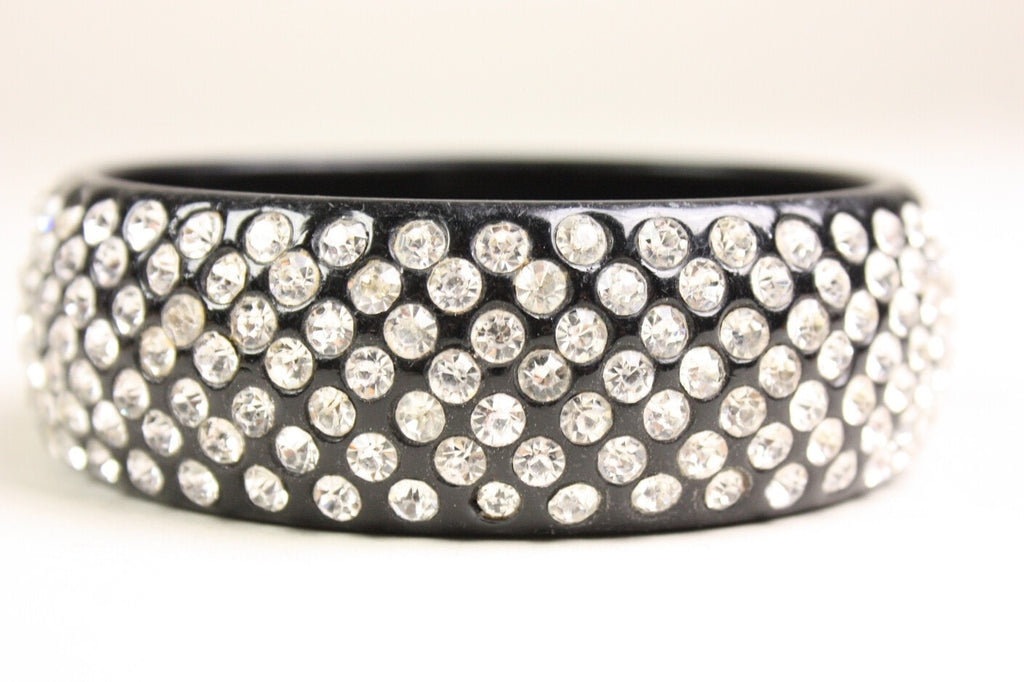 1950's Bangle Black Lucite Rhinestone Encrusted Vintage - regenerationvintageclothing