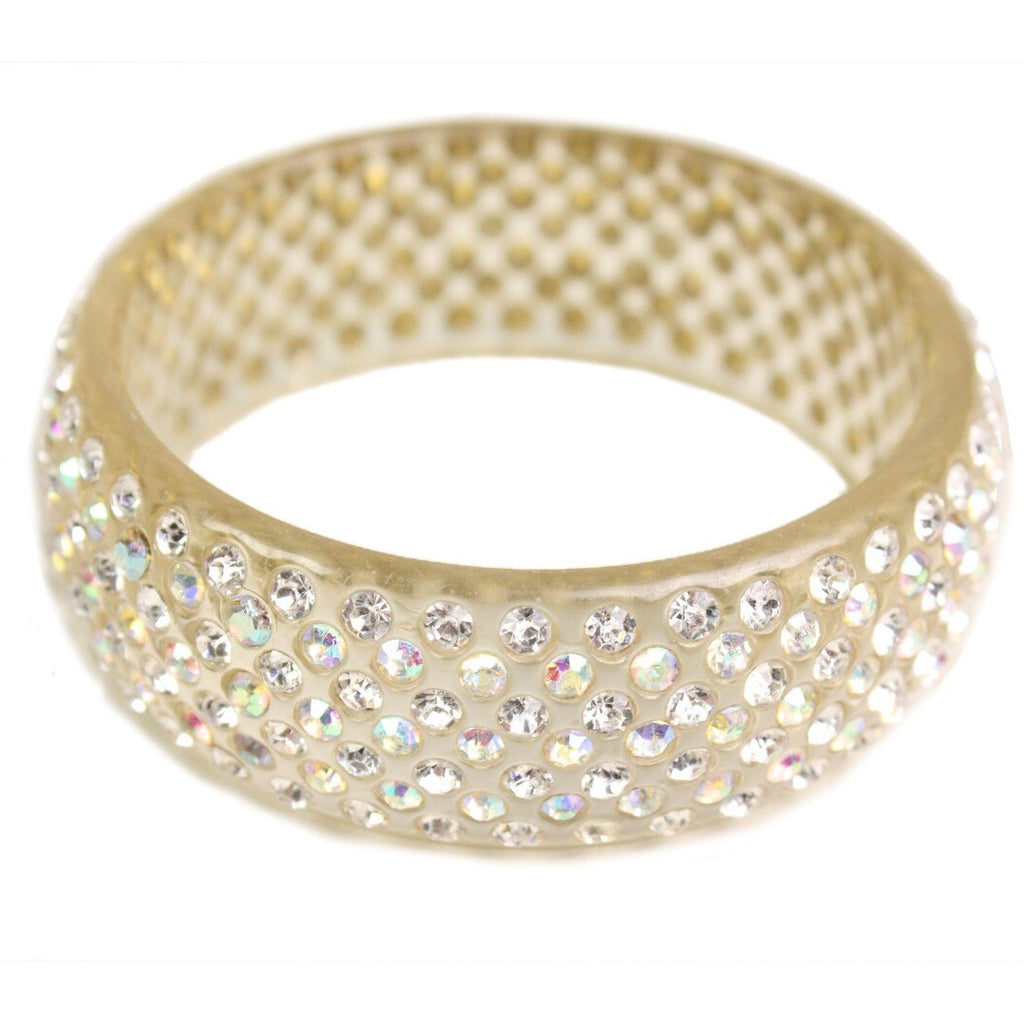 Vintage Jewelry: 1950's Clear Lucite Rhinestone Encrusted Bangle