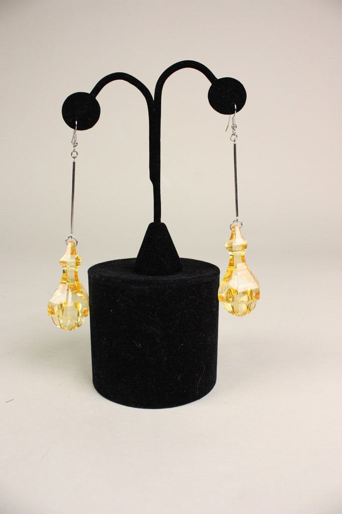 1960's Earrings Yellow Lucite Dangle Vintage - regenerationvintageclothing
