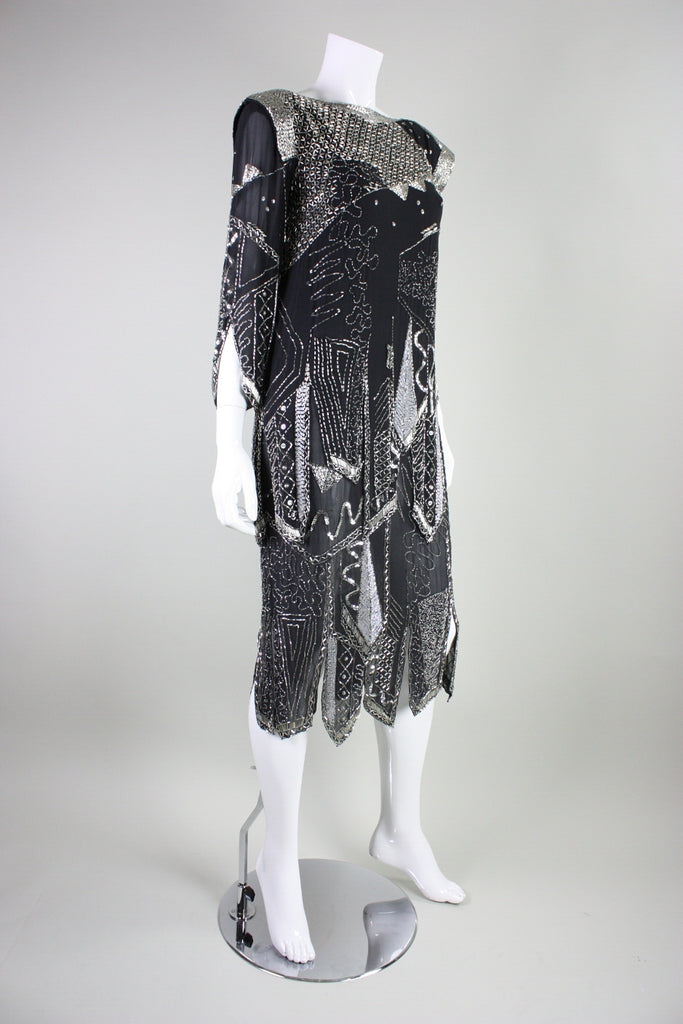 Fabrice Cocktail Dress 1980's Art Deco Inspired Vintage - regenerationvintageclothing