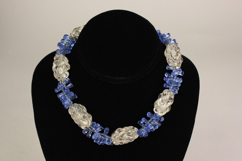 1930's Necklace Blue & Clear Glass Vintage
