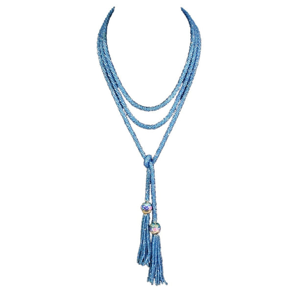 1920's Necklace Blue Seed Bead Sautoir Vintage - regenerationvintageclothing