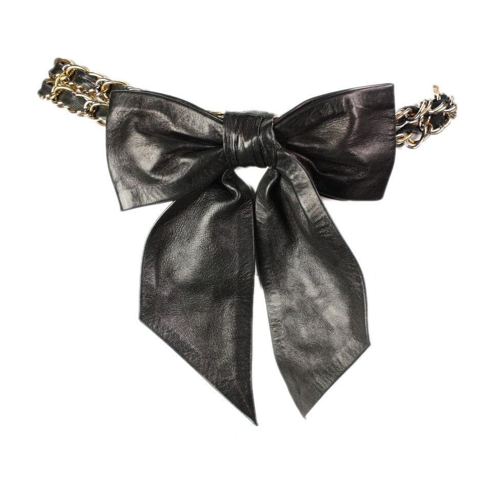 Vintage Clothing: Chain Link Belt with Large Leather Bow
