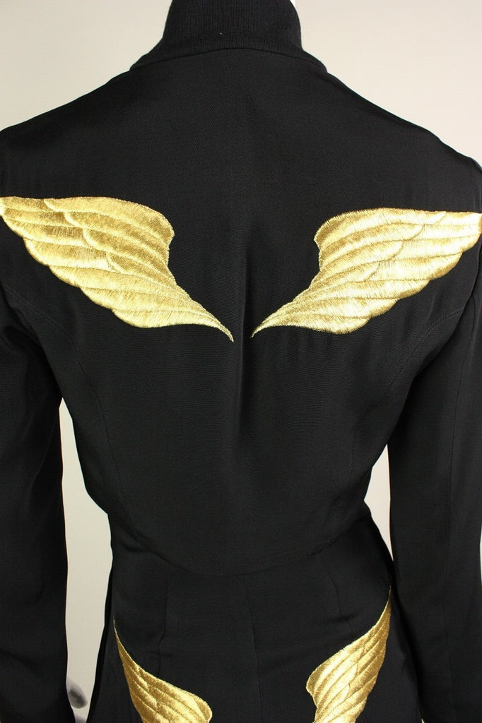 Ozbek Ensemble 1990's with Gold Embroidered Wings Vintage - regenerationvintageclothing