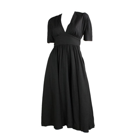 Vintage Dresses - 1970's Halston Black Dress with Open Cape Back