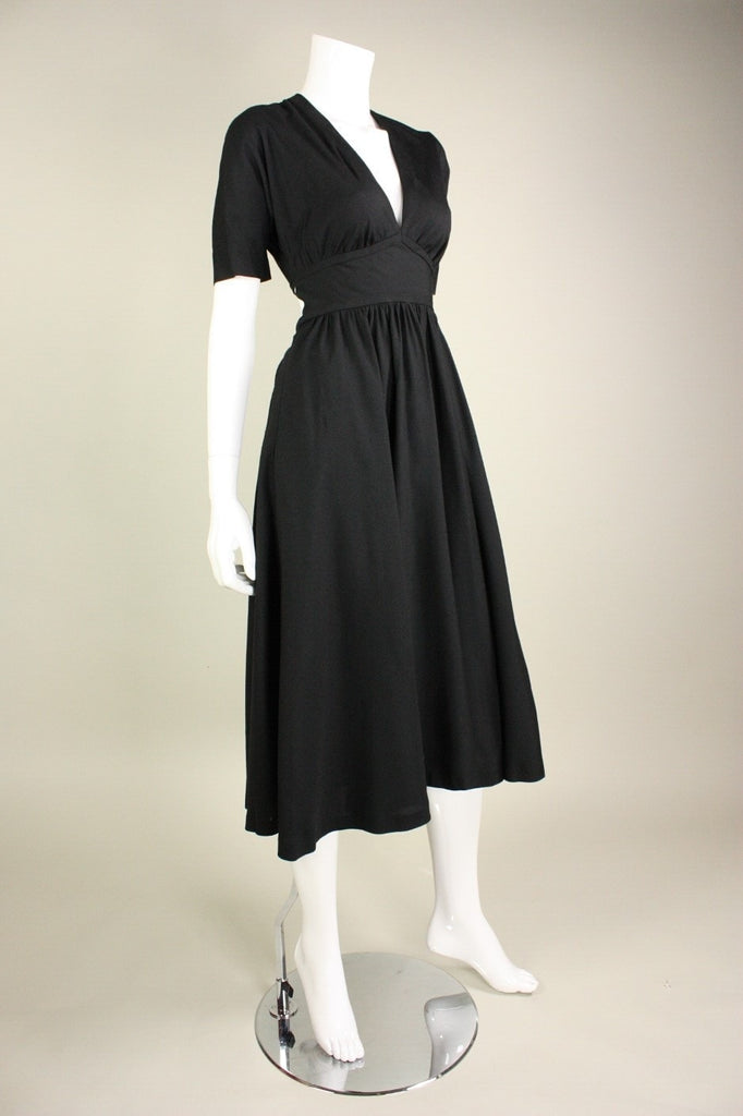 Halston Dress 1970's Black with Open Back Vintage - regenerationvintageclothing
