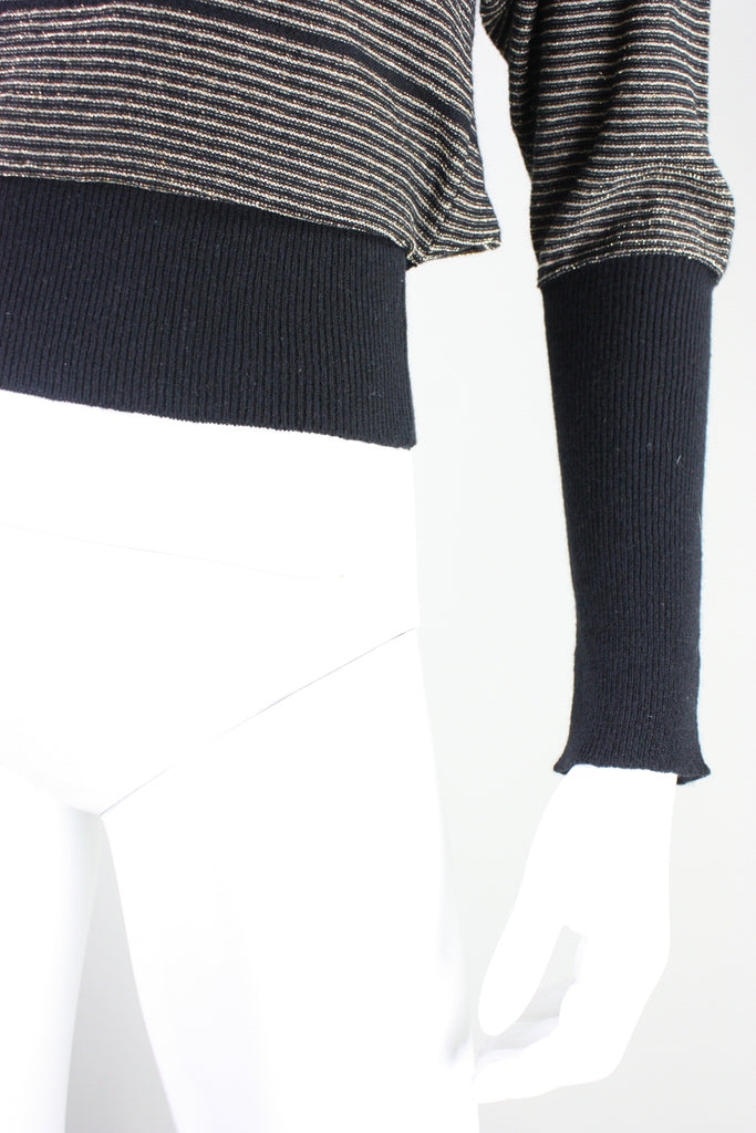 Sonia Rykiel Sweater Gold & Black with Bow Detail Vintage - regenerationvintageclothing