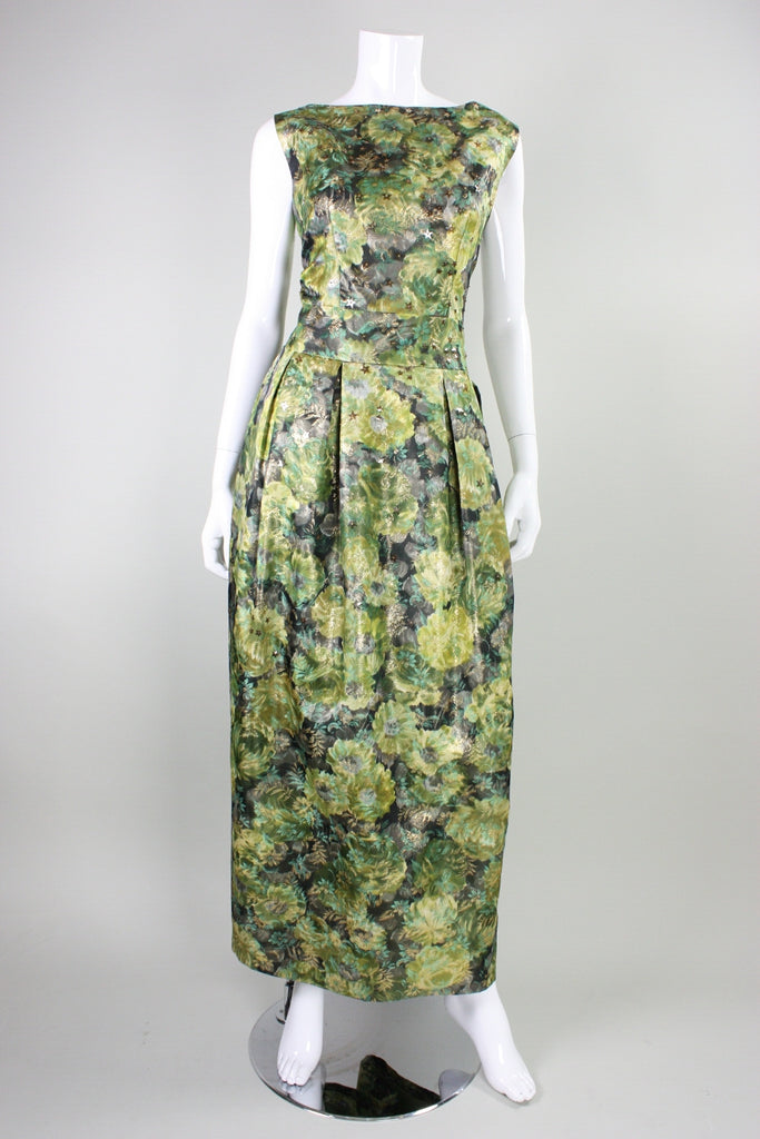 Vintage 1960's Green Floral Jacquard Lame Gown